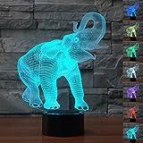 Hexie lámpara Elephant Magic 3d del regalo de Navidad Ilusión 3d 7colores Interruptor de Tocco Decoración de presentación y Partito de cumpleaños de LED de LED de interior de LED