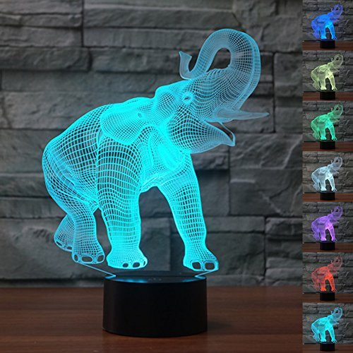 HeXie Weihnachtsgeschenk Magic Elephant Lampe 3D Illusion 7 Farben Touch-Schalter USB Einsatz LED-Licht Geburtstagsgeschenk und Party Dekoration