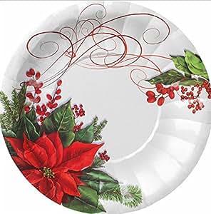 8 piatti dolce natalizi in cartoncino polietinato POINSETTIA carta 21 cm