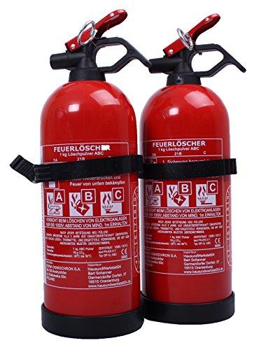 2 Stück Autofeuerlöscher ABC 1 kg mit Halterung (Aufladelöscher GP1-Z)