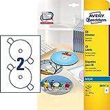 AVERY Zweckform J8676-25 CD-Etiketten (A4, 50 Stück, schnell trocknend, Ø 117...