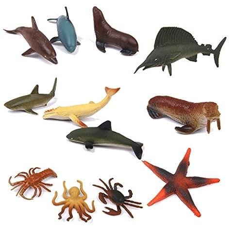 12 Piece Sea Figurine Set (Sharks, Dolphins, Swordfish &