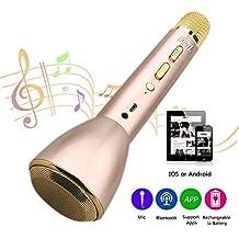 HooYL Micrófono Inalámbrico Portátil Bluetooth 3.0 Altavoz Incorporado para Karaoke Batería de 1800mAh 3.5mm AUX Compatible con PC / iPad / iPhone / Smartphone, Color Dorado
