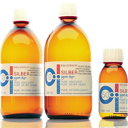 PureSilverH2O Kolloidales Silber 1100ml (2 * 500ml 10PPM) & Flasche 100ml 50PPM Silberwasser 100% frisch & effektiv preisvergleich