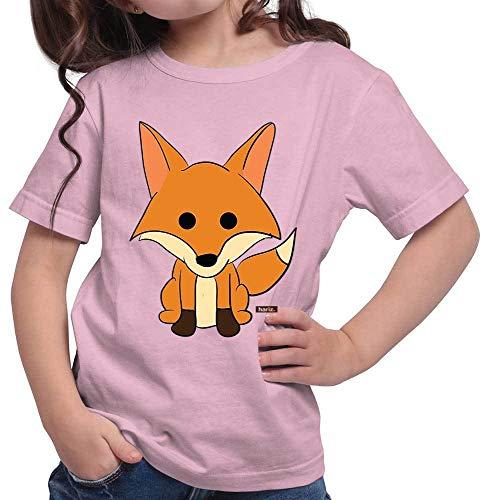 Kostüm Kind Süße Fuchs - HARIZ Mädchen T-Shirt Fuchs Süß Schmunzelnd Tiere Kindergarten Inkl. Geschenk Karte Rosa 128/7-8 Jahre