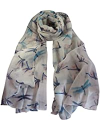 White Dragonfly Print Wide Scarf