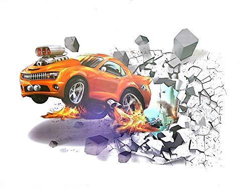 3D Aufkleber wand Auto 3D Wandsticker Wandaufkleber Wandtattoo Selbstklebend Wanddeko Aufkleber deko DIY Wandbilder für Wohnzimmer Kinderzimmer Kinder Junge (TYP-3)