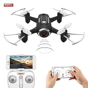Syma X22W Drone Mini con Cámara WIFI FPV 2.4GHz 4CH 6-Axis Cuadricoptero con Retención de Altitud, Plan de vuelo, Control de APP, Modo Sin Cabeza, Rotación de 360° y Luz LED