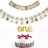 Juego de Decoración de Primer Cumpleaño, Decoración de Topper de Tarta de Primer Cumpleaño de Bebé y Guirnalda de Pancarta de Foto de Bebé 1 - 12 Meses y Pancarta de I AM ONE con Corazón (Azul)