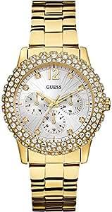 Guess - W0335L2 - Montre Femme - Quartz Analogique - Cadran Argent - Bracelet Acier Doré