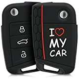kwmobile Funda para Llave de 3 Botones para Coche VW Golf 7 MK7 - Carcasa Protectora [Suave] de [Silicona] - Case de Mando de Auto con diseño I Love my Car