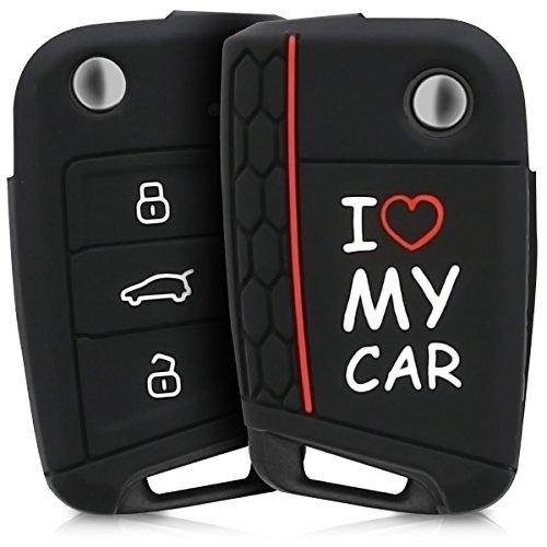 kwmobile Accessoire clé de Voiture pour VW Golf 7 MK7 - Coque pour Clef de Voiture VW Golf 7 MK7 3-Bouton en Silicone Blanc-Rouge-Noir - Étui de Protection Souple