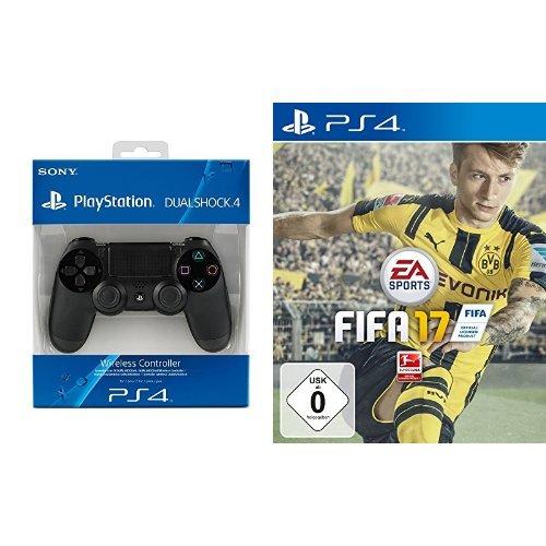 PlayStation 4 - DualShock 4 Wireless Controller, schwarz & FIFA 17 - [PlayStation 4]