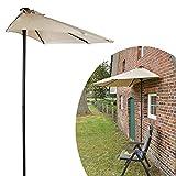#0107 Halbrunder Sonnenschirm 2,2x2m wandplatzierbar • Halbrund Balkon Terasse Wand Sonnenschutz Gartenschirm