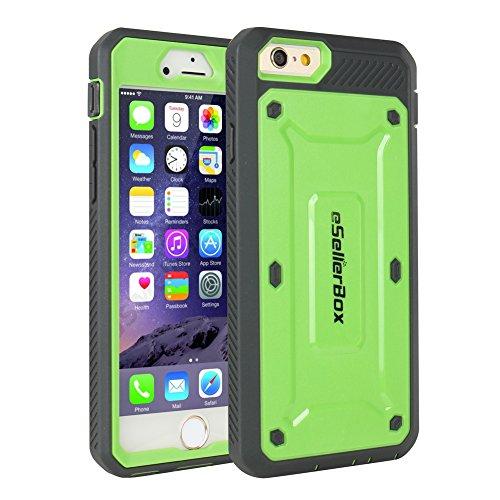 ESellerbox - Cover rigida per iPhone 6/6S, resistente, antigraffio e antiurto, protegge da cadute e colpi, con pellicola salvaschermo integrata, in confezione per la vendita al dettaglio, PLASTICA, Green, iPhone 6/6S Plus