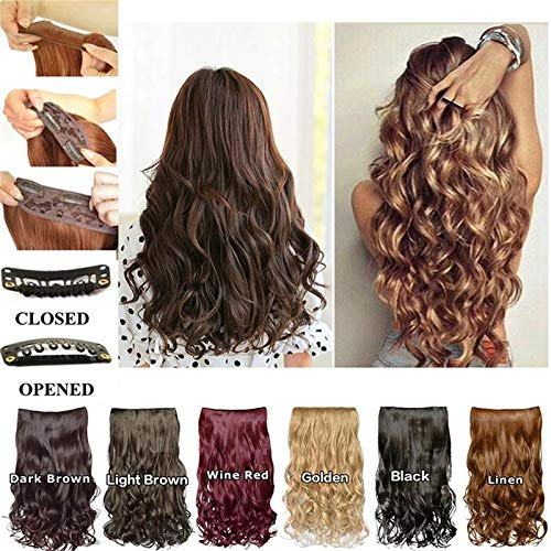 TYGJ Long Wave Wig Curly Clip In Hair Extensions Human Hair Extensions Synthetic Heat Resistant Hairpiece (Burgund)