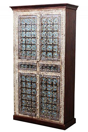 Orientalischer grosser Schrank Kleiderschrank Billur -1- 140cm hoch | Marokkanischer Vintage Dielenschrank schmal | Orientalische Schränke aus Holz massiv für den Flur, Schlafzimmer, Wohnzimmer oder Bad - Orientalische Möbel Wohnzimmer Schrank