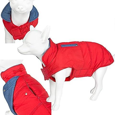 Luxury Warm Padded Pet Dog Outdoor Waterproof Coat/Jacket (Red (L)