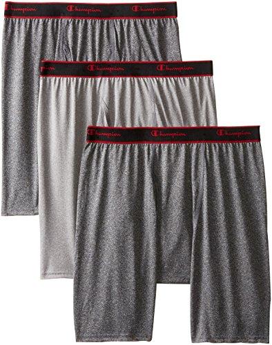 Champion Herren-Unterhose, mit halblangem Bein, enger Schnitt, Active Performance Black Heather/Grey