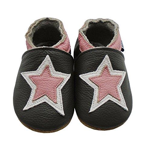 Mejale Chaussons Enfant Bébé en Cuir Doux-Chaussons Cuir Souple-Chaussures Premiers Pas-Dessin animé Étoiles Gris Foncé, Étoile fuchsia