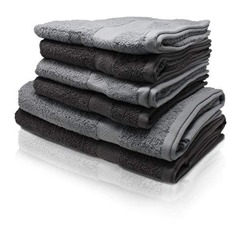 Wash Monkey Luxus Handtuch Set, 6 TLG. 4X Handtücher, 2X Duschhandtücher - 100% Frottee Baumwolle| Premium Qualität (Anthrazit & Hellgrau)