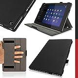"""igadgitz Premium Exécutif Noir Cuir PU Etui Housse Case Cover Pour Sony Xperia Z2 10.1"""" Tablet SGP-511 avec Support Multi-Angles + Mise en Veille/Réveil + Courroie de Main + Film de Protection"""
