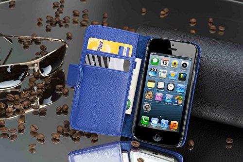 Apple iPhone 5 / 5S / SE Hülle in SCHWARZ von Cadorabo - Handy-Hülle mit Karten-Fach und Standfunktion Case Cover Schutz-hülle Etui Tasche Book Klapp Style in OXID-SCHWARZ KÖNIGS-BLAU