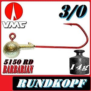 VMC Jigkopfhaken Jigkopf Rund 3/0 14g Jighaken 10 Stück im Set mit VMC Barbarian 5150 RD Haken