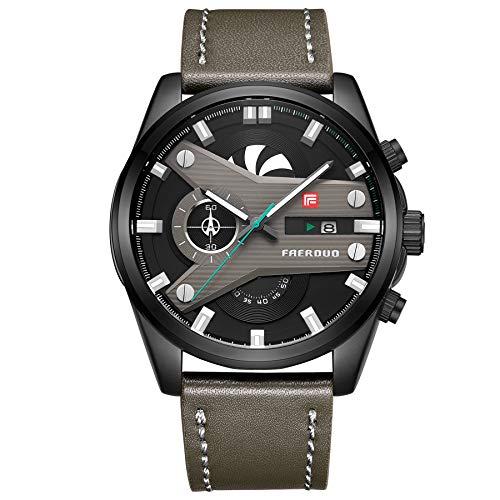 FAERDUO Montre Chronographe Homme Imperméable à l'eau Sport Analogique Quartz Cadran Noir Montre Bracelet pour Hommes Cuir Vert Bande F8228