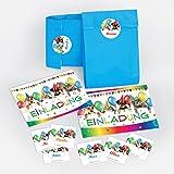 10-er Set Einladungskarten, Umschläge, Tüten, Aufkleber zum Kindergeburtstag für Mädchen und Jungen