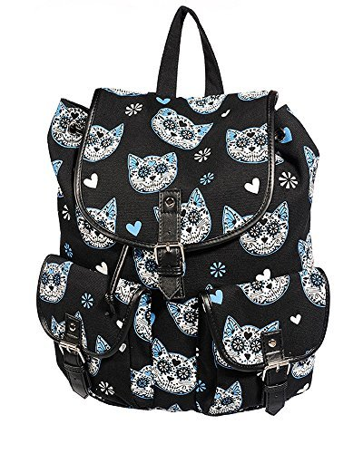 Blue Banana Alternative Fashion , Sac à main porté au dos pour femme Noir Noir