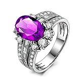 KnSam Ring 925 Silber Damen Trauringe Echt Amethyst 3 Ring Set Antragsring Geschenk für Frauen Mutter Gr.64 (20.4) Modeschmuck