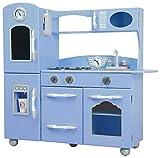 Cocina de juguete grande de madera azul de TeamsonKidsTD-11414S
