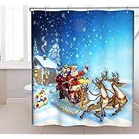CHUN YI Babbo Natale E Renne Tenda Doccia In Tessuto Impermeabile 180*180cm (2 Renne) - Natale Tenda Della Doccia