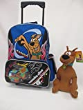 Scooby-Doo Large 16' Rolling Backpack Roller Wheeled Book Bag with Water Bottle & 12' Plush Doll by Bag2School