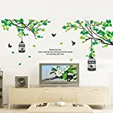 BeautifulWalls Beautiful Calm Green Trees Nature Wall Stickers For Bedroom I Wall Stickers For Living Room, Kids Room With An Awesome Forest Theme Scenery Of Chirping Love Birds, Cage, Tree Branches And Leaves, And Cute Heart-warming Quotation I Ideal For