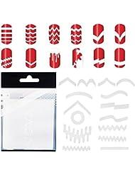 Incroyable Offre 10 Sets Avec 347 Stickers Guides / Autocollants Blancs Nail Art Professionnels Qualité Salons en 13 Différentes Formes Pour French Manucures des Ongles et Application de Designs / Motifs Par VAGA