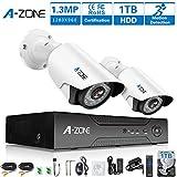 A-ZONE 2 Kanals Kabelgebundene Überwachungskamera Set mit Sicherheitskameras 2 x 1.3MP 960P AHD Überwachungskameras Außen/Innen mit Bewegungsmelder, Überwachungssystem mit Festplatte 1TB