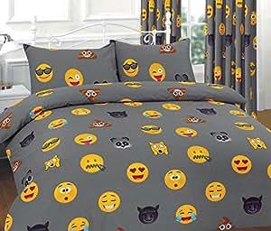 parure de lit smileys avec housse de couette et taie d 39 oreiller rideaux smiley expressions. Black Bedroom Furniture Sets. Home Design Ideas