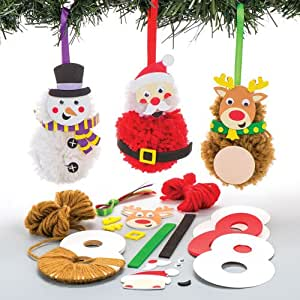 Baker ross kits de d corations de no l en pompons que les for Decoration de noel amazon