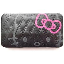 ea3e5c282cc Hello Kitty Porte-monnaie long pour femme Noir matelassé