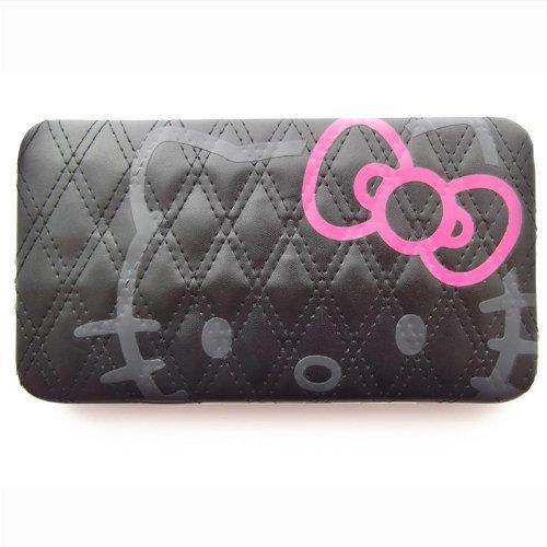 Hello Kitty längliches Portemonnaie für Damen - schwarz mit gestepptem Design (Geldbörsen Hello Kitty)