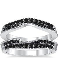 Silvernshine 14K White Gold PL Black Simulated Diamonds Double Row Wedding Ring Guard Enhancer