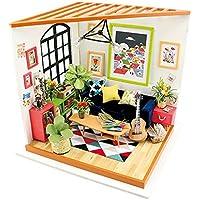 Robotime Soggiorno musicale di fai da te - Adorable Miniature Dolls House con mobili e accessori - Artigianato Mini giocattoli casa giocattoli regalo per 6,7,8,9 anni Ragazzi e ragazze