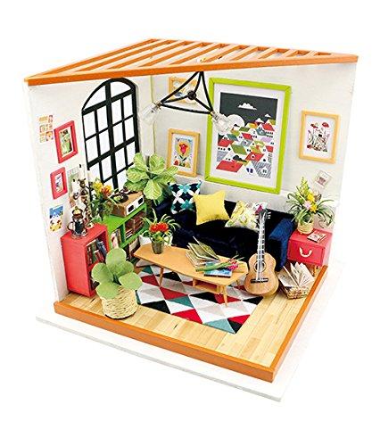 Robotime DIY Musik Wohnzimmer - Adorable Miniatur Puppen Haus mit M?Bel und Zubeh?r?