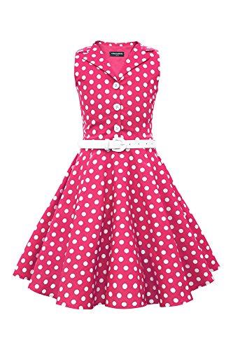 r 'Holly' Vintage Polka-Dots Kleid im 50er-J-Stil (Rosa, 13-14 J / 158-164) (Mädchen Rosa Polka-dot-kleid)