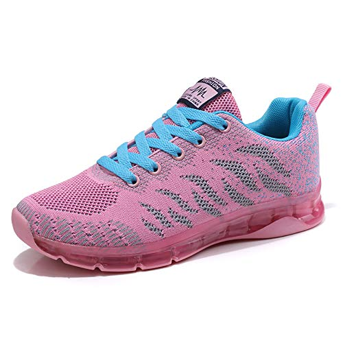 Sneakers Donna Sportive Scarpe da Corsa Walking Maglia Formatori da Ginnastica Low Top Calzature Moda Atletiche Comode Rosa 39