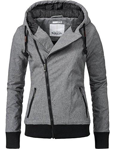 Sublevel Damen Jacke Winterjacke Kapuzenjacke 44308 Grau Gr. XL