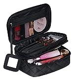 Trousse Maquillage Femme Voyage, Trousse de Toilette Cosmétiques, Sac Maquillage 2 Couche Grande Capacité avec Compartiment pour Brosse et Miroir (23x14x10cm)