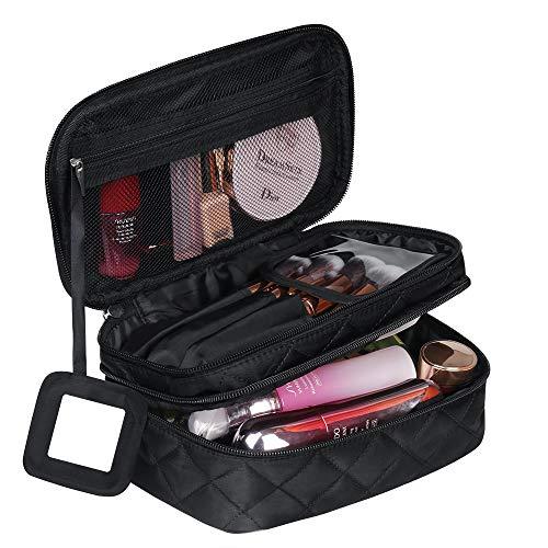Kosmetiktasche Mädchen, MakeUp Tasche Reise, Tragbare Schminktasche Kosmetikbeutel Doppelschicht mit Tragegriff und Spiegel(Schwarz 23 * 10 * 14 cm)